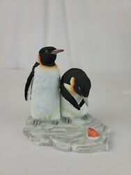 LEFTON CHINA Penguins and Fish Figurine 11743 Porcelain Bisque Hand Painted