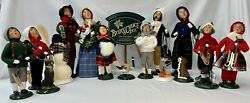 Byers Choice Carolers Lot Of 17 - W/ Dealers Sign + Limited Edition Figures
