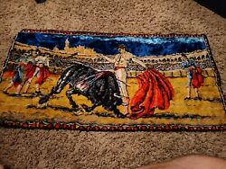 Vintage Bull Fighting Tapestry Wall Hanging Matador Décor 19.5quot; x 37quot; Rug