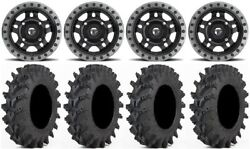 Fuel Anza Black 14 Wheels 28 Outback Max Tires Yamaha Grizzly Rhino