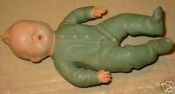 Rare Antique Rubber Squeeky Toy Baby Boy Doll Sleeping