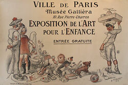 Original 1913 French Art Deco Exhibition Poster For Kids - Willette, Horizontal