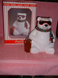 1996 Issue Coca-cola Exclusive Hollywood Polar Bear W/suitcase Cookie Jar