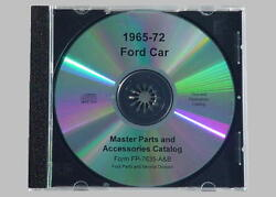 1965-72 Ford Car Complete Master Parts Text And Illustrations Catalog Cd