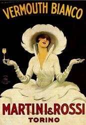 MARTINI amp; ROSSI FAMOUS VINTAGE ART PRINT NEW POSTER