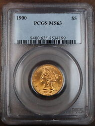 1900 5 Liberty Gold Coin, Pcgs Ms-63