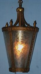 Antique Electric Tapering Hanging Lantern Ceiling Fixture Chicago 1900 Greek Key