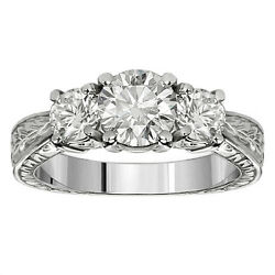 1.05 Ct 3-stone Natural Diamond Hand Engraved Engagement Ring White Gold G-h Si