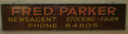 Vintage Fred Parker Newsagent Stocking Farm Uk Painted Store Advertising Sign