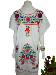 Any Color Peasant Vintage Tunic Embroidered Mexican Dress  XS S M L XL XXL