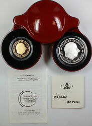 1988 France Charles De Gaulle 1 Franc Gold And Silver Proof Coin Set, In Case, Coa