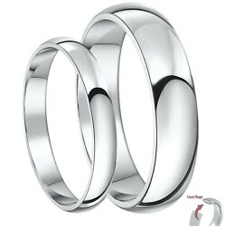 Brand New Palladium His And Her's 3and5mm / 4and6mm Court Shaped Wedding Rings