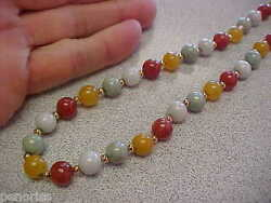 Spectacular 8 Mm Multicolored Jadite Jade Necklace 30 Inch With 14k Make Offer