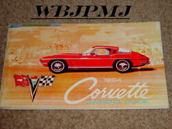 1964 Corvette Factory Original Gm Owners Manual First Edition W/ Full News Card