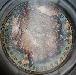 1879-s Morgan Silver Dollar, Pcgs Ms-64+, Spectacularly Toned, Dgh