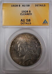 1928 Peace Silver Dollar Coin Anacs Au-58 Details - Cleaned