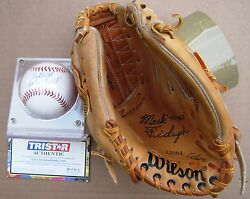 Detroit Tigers' Mark The Bird Fidrych Glove And Autographed Baseball
