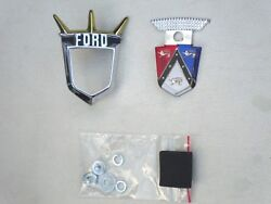 1955 1956 Ford Fairlane Trunk Crest And Chrome Bezel New