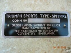 Triumph Spitfire Commission Plate Number Plate 62 - 67 Mki Mkii