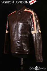 Mens Action Movies Leather Jacket Brown War Of The Worlds Glazed Leather Jacket