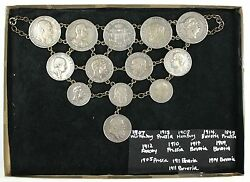 German Coin Chain Linked Breastplate Jewelry- 13 Silver Coins- 235 Mark- W/box