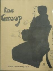 Rare 1954 Signed David Levine Lithomat Poster For Private Exhibition The Group