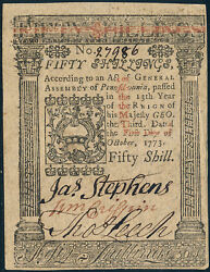 Pa-170 Pennsylvania Colonial Currency 50 Shillings 10-1-1773 Choice Cu Hv4165