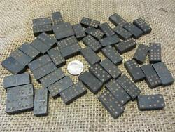 Vintage Dominoes Set Rare Size Antique Old Domino Wood Or Processed Wood 7490