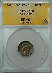 1942/1 Mercury Silver Dime 10c, Anacs Ef-40 Details Cleaned, Over Date