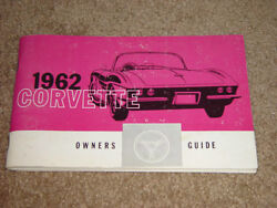 1962 Corvette Factory Gm Owners Manual First Edition Part 3798322 W/full Card