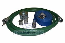 1-1/2 Mud Suction Hose Trash Pump Complete Kit W/100and039 Blue Discharge Fs