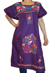 Assorted Knee Length Peasant Tunic Embroidered Mexican Dress