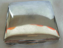 Vintage 800 Silver Womanand039s Square Compact With Mirror And Powder Puff