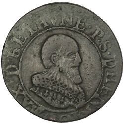 [30301] French States Double Tournois 1636 Km 3 Vf30-35 Copper Cgkl