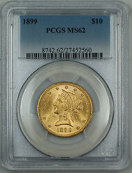 1899 Liberty 10 Eagle Gold Coin, Pcgs Ms-62