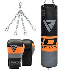 Rdx 4ft 5ft Filled Heavy Punch Bag Set With Boxing Gloves And Chains Training Mma