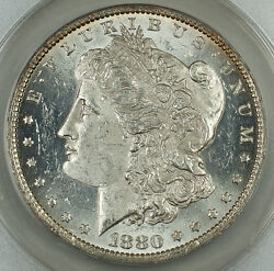 1880-o Morgan Silver Dollar 1 Anacs Ms-60 Details Cleaned Spl Very Attractive