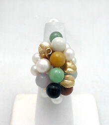 Ming's Honolulu 9 Akoya Pearls And 8 Jade 7mm Balls 14k Gold Ring Size 6.4 1629