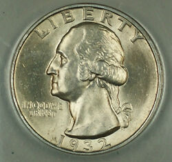 1932-s Silver Washington Quarter 25c, Anacs Ms-60, Details, Cleaned, Better Coin