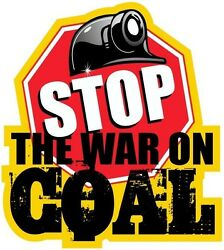 """3 - Stop The War On Coal Hard Hat Mining Stickers """"sons Of Coal H566"""