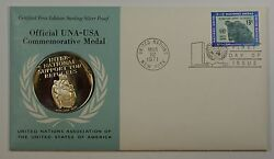 1971 Una-usa Commemorative Silver Proof Medal- Support For Refugees-fdi Stamp