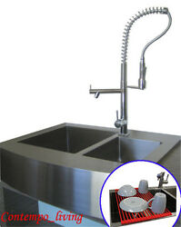 36 Stainless Steel Farm Apron Kitchen Sink 16 Gauge Double Bowl