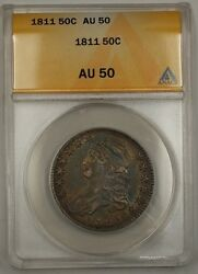 1811 Capped Bust Half Dollar Large 8 Anacs Au-50 Beautifully Toned Clash Dies