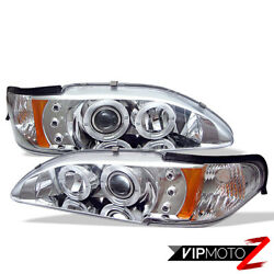 1994-1998 Ford Mustang Euro Projector 1pc Chrome Amber Headlight Signal Lamp Set