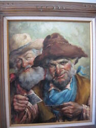 Endre Szabo Listed American Hungarian Artist Original Oil Painting Of Old Cowboy