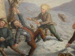 German Painting Late 19th Century Signed Children Playing In Snow