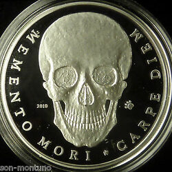 Palau 2010 Memento Mori Silver Skull Coin - Extremely Hard To Find - Very Rare
