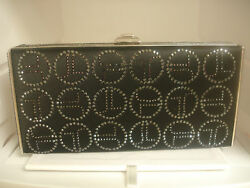 Judith Leiber Satin Swarovski JL Monogram Black Evening Bag Handbag Purse Clutch