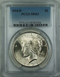 1934-d Silver Peace Dollar Coin 1 Pcgs Ms-63 Spotty Toning Better Coin