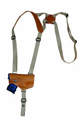 NEW Barsony Horizontal Tan Leather Shoulder Holster Kel-Tec SCCY Comp 9mm 40 45